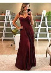 A-Line Spaghetti Straps Pleated Dark Red Satin Prom Dress