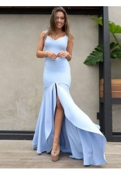 Mermaid Scoop Backless Blue Satin Prom Dress with Split