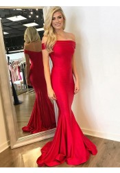 Mermaid Off-the-Shoulder Red Satin Prom Dress