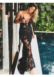 Sheath Spaghetti Straps Black Lace Prom Dress with Appliques Beading