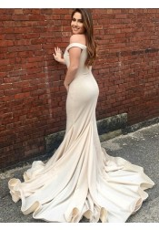 Mermaid Off-the-Shoulder Light Champagne Satin Prom Dress