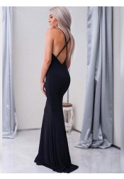 Mermaid Spaghetti Straps Sweep Train Black Elastic Satin Prom Dress