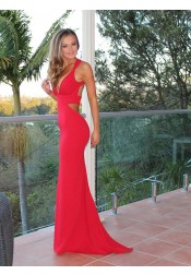 Mermaid Deep V-Neck Sweep Train Open Back Red Stretch Satin Prom Dress