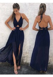 A-Line Halter  Backless Navy-Blue Chiffon  Prom Dress