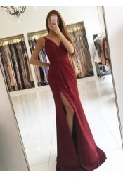 Mermaid V-Neck Sweep Train Split-Side Burgundy Chiffon Prom Dress