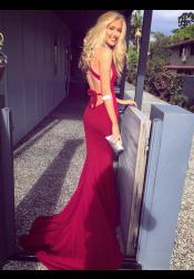 Mermaid V-Neck Criss Cross Fuchsia Elastic Satin Prom Dress