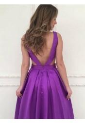 A-Line V-Neck Backless Floor-Length Purple Satin Prom Dress