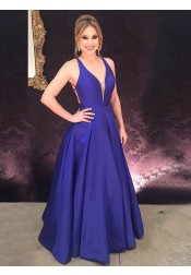A-Line V-Neck Backless Floor-Length Royal Blue Satin Prom Dress