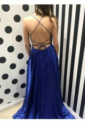 A-Line Spaghetti Straps Royal Blue Satin Backless Prom Dress