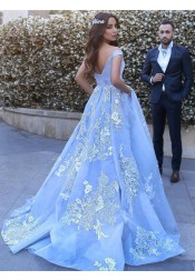 Ball Gown Off-the-Shoulder Sweep Train Blue Tulle Appliques Prom Dress
