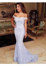 Mermaid Off-the-shoulder Sweep Train Lavender Lace Prom Dress with Appliques