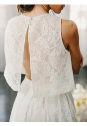 Two Piece Crew Sleeveless Sweep Train Open Back Ivory Lace Wedding Prom Dress