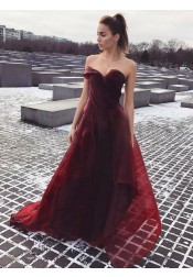 A-Line Sweetheart Sweep Train Burgundy Organza Prom Dress with Ruched