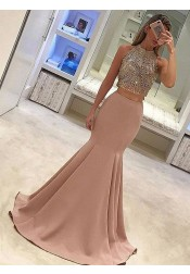 Mermaid Jewel Sweep Train Blush Stretch Satin Prom Dress with Beading