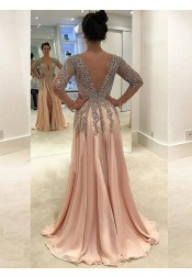 A-Line V-Neck Long Sleeves Pearl Pink Chiffon Prom Dress with Beading