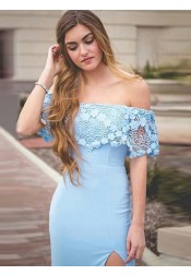 Sheath Off-the-Shoulder Light Blue Prom Dress with Lace Split
