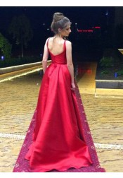 A-Line Round Neck Sweep Train Pleated Red Satin Prom Dress