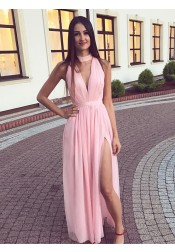 A-Line V-Neck Ankle Length Pink Chiffon Prom Dress with Split