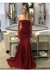 Mermaid Strapless Sweep Train Maroon Elastic Satin Prom Dress