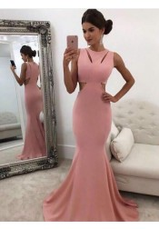 Mermaid Round Neck Floor-Length Pink Prom Dress Cut-Out