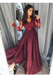A-Line V-Neck Burgundy Stretch Satin Prom Dress with Appliques Beading
