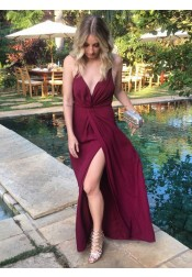 A-Line Spaghetti Straps Burgundy Satin Prom Dress with Split