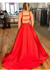 A-Line Cross-Neck Red Satin Prom Dress with Pockets