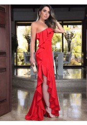 Sheath One Shoulder Red Satin Prom Dress with Ruffles