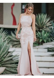 Mermaid Square Neck Pink Pink Satin Prom Dress with Appliques