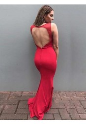 Sheath Round Neck Open Back Red Satin Prom Dress
