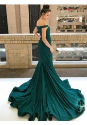 Mermaid Off-the-Shoulder Green Satin Prom Dress with Beading