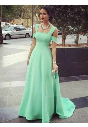 A-Line Cold Shoulder Mint Green Satin Prom Dress