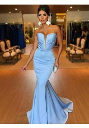 Mermaid Strapless Sweep Train Blue Satin Prom Dress