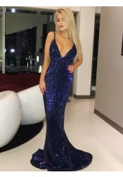 Sheath Spaghetti Straps Sweep Train Royal Blue Sequined Prom Dress