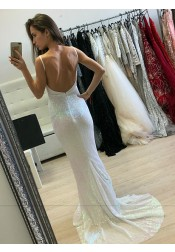 Sheath V-Neck Backless Sweep Train Sequined Prom Dress