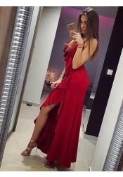 Mermaid Spaghetti Straps Red Satin Prom Dress with Ruffles