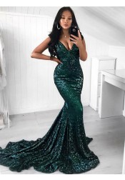 Mermaid Sweep Train V-Neck Green Sequined Prom Dress
