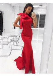 Mermaid High Neck Red Satin Evening Prom Dress with Bowknot