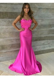 Mermaid Strapless Sweep Train Fuchsia Satin Prom Dress