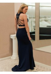 Two Piece Cross V-Neck Navy Blue Satin Prom Dress with Lace Split