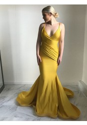 Mermaid Spaghetti Straps Sweep Train Ruched Yellow Satin Prom Dress