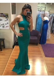 Mermaid Jewel Cut-out Sweep Train Green Satin Prom Dress
