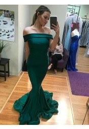Mermaid Off-the-Shoulder Sweep Train Green Satin Prom Dress