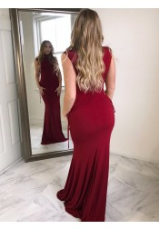 Sheath High Neck Dark Red Spandex Prom Dress with Beading