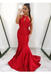Mermaid Jewel Sweep Train Red Satin Prom Dress with Keyhole Beading
