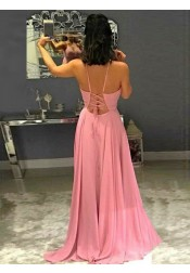 A-Line Spaghetti Straps Pink Chiffon Prom Dress with Split