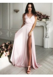 A-Line V-Neck Sweep Train Pink Satin Prom Dress with Split