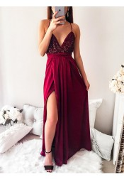 Spaghetti Straps Pleated Dark Red Long Prom Party Dress with Sequins