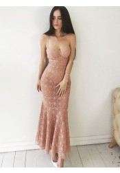 Mermaid Spaghetti Straps Pink Lace Long Prom Party Dress