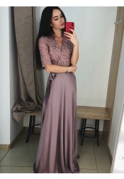 V-Neck Half Sleeves Purple Satin Prom Evening Dress with Lace